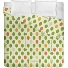 Merry Christmas Polka Dot Circle Snow Tree Green Orange Red Gray Duvet Cover Double Side (king Size) by Mariart