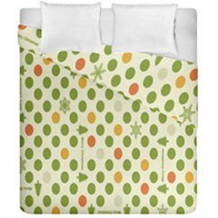 Merry Christmas Polka Dot Circle Snow Tree Green Orange Red Gray Duvet Cover Double Side (california King Size) by Mariart