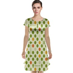Merry Christmas Polka Dot Circle Snow Tree Green Orange Red Gray Cap Sleeve Nightdress by Mariart