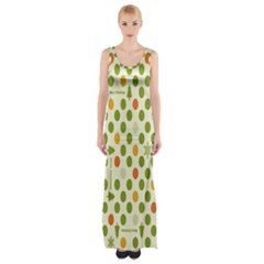 Merry Christmas Polka Dot Circle Snow Tree Green Orange Red Gray Maxi Thigh Split Dress by Mariart