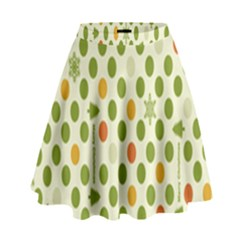 Merry Christmas Polka Dot Circle Snow Tree Green Orange Red Gray High Waist Skirt by Mariart
