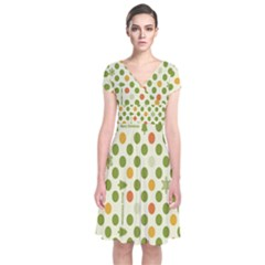 Merry Christmas Polka Dot Circle Snow Tree Green Orange Red Gray Short Sleeve Front Wrap Dress by Mariart