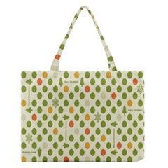 Merry Christmas Polka Dot Circle Snow Tree Green Orange Red Gray Medium Zipper Tote Bag by Mariart