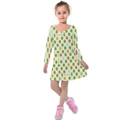 Merry Christmas Polka Dot Circle Snow Tree Green Orange Red Gray Kids  Long Sleeve Velvet Dress by Mariart
