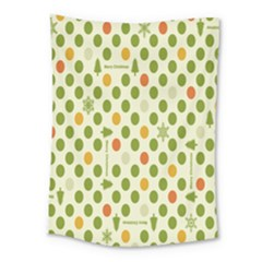 Merry Christmas Polka Dot Circle Snow Tree Green Orange Red Gray Medium Tapestry by Mariart