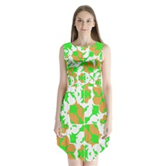 Graphic Floral Seamless Pattern Mosaic Sleeveless Chiffon Dress