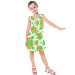 Graphic Floral Seamless Pattern Mosaic Kids  Sleeveless Dress by dflcprintsclothing
