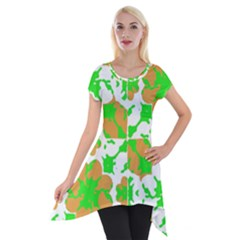 Graphic Floral Seamless Pattern Mosaic Short Sleeve Side Drop Tunic by dflcprintsclothing