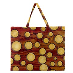 Wood And Gold Zipper Large Tote Bag by linceazul