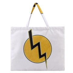 Lightning Bolt Zipper Large Tote Bag by linceazul