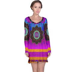 Air And Stars Global With Some Guitars Pop Art Long Sleeve Nightdress by pepitasart