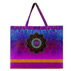 Air And Stars Global With Some Guitars Pop Art Zipper Large Tote Bag by pepitasart