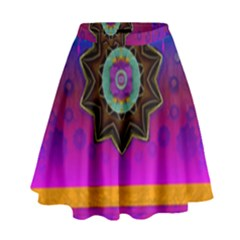 Air And Stars Global With Some Guitars Pop Art High Waist Skirt by pepitasart
