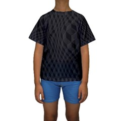Black Pattern Dark Texture Background Kids  Short Sleeve Swimwear