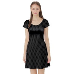 Black Pattern Dark Texture Background Short Sleeve Skater Dress