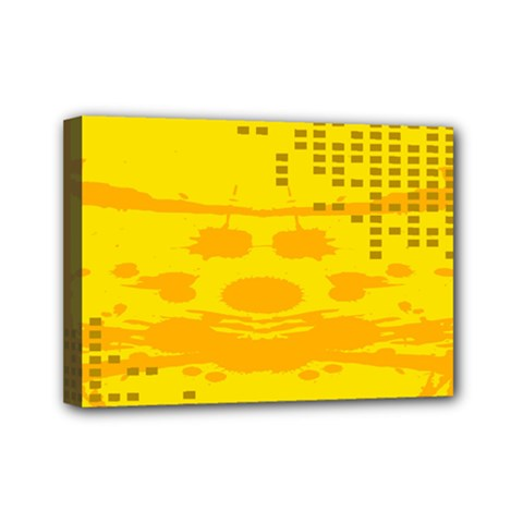 Texture Yellow Abstract Background Mini Canvas 7  X 5  by Nexatart