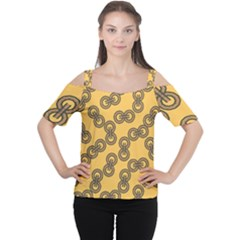 Abstract Shapes Links Design Women s Cutout Shoulder Tee