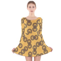 Abstract Shapes Links Design Long Sleeve Velvet Skater Dress