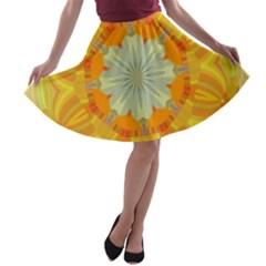Sunshine Sunny Sun Abstract Yellow A Line Skater Skirt