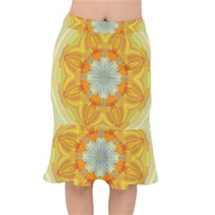 Sunshine Sunny Sun Abstract Yellow Mermaid Skirt by Nexatart