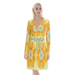 Sunshine Sunny Sun Abstract Yellow Long Sleeve Velvet Front Wrap Dress