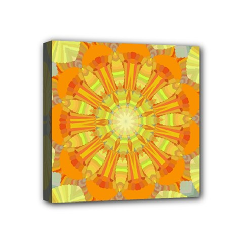 Sunshine Sunny Sun Abstract Yellow Mini Canvas 4  X 4
