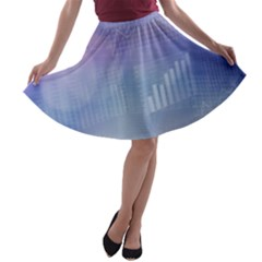 Business Background Blue Corporate A Line Skater Skirt by Nexatart