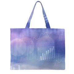 Business Background Blue Corporate Zipper Large Tote Bag by Nexatart