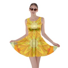 Sunshine Sunny Sun Abstract Yellow Skater Dress
