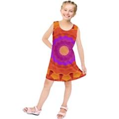 Mandala Orange Pink Bright Kids  Tunic Dress