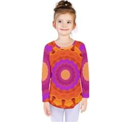 Mandala Orange Pink Bright Kids  Long Sleeve Tee