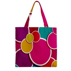 Paint Circle Red Pink Yellow Blue Green Polka Zipper Grocery Tote Bag by Mariart