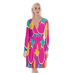 Paint Circle Red Pink Yellow Blue Green Polka Long Sleeve Velvet Front Wrap Dress