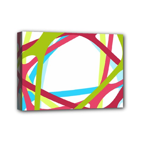 Nets Network Green Red Blue Line Mini Canvas 7  x 5  by Mariart