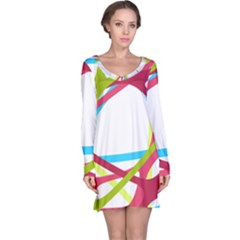 Nets Network Green Red Blue Line Long Sleeve Nightdress by Mariart