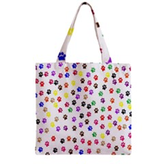 Paw Prints Dog Cat Color Rainbow Animals Zipper Grocery Tote Bag by Mariart
