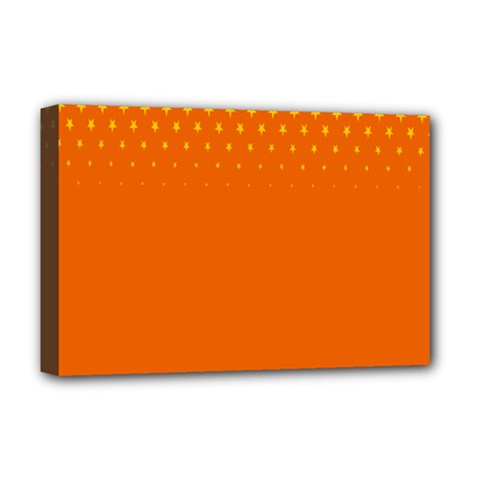 Orange Star Space Deluxe Canvas 18  X 12   by Mariart