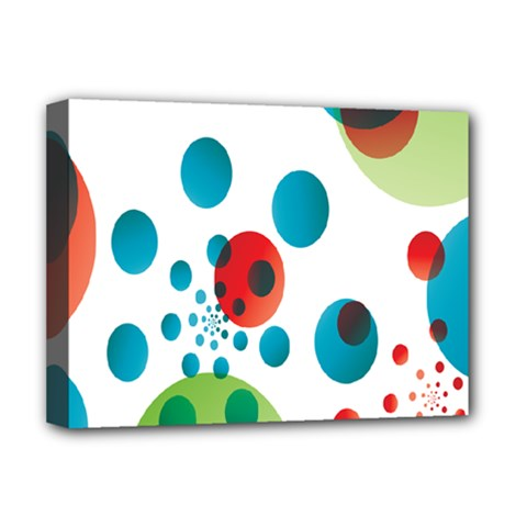 Polka Dot Circle Red Blue Green Deluxe Canvas 16  X 12   by Mariart