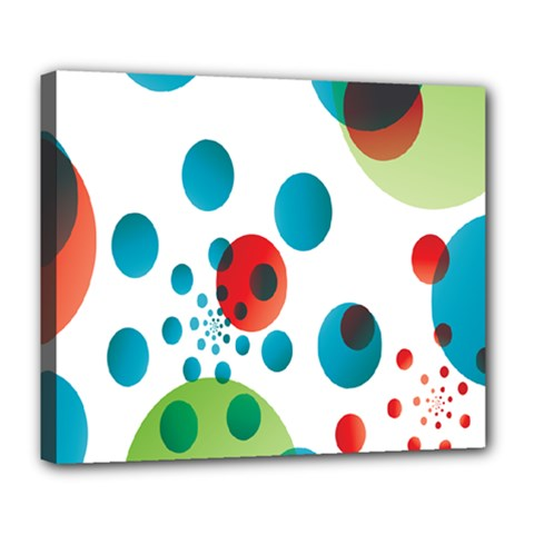 Polka Dot Circle Red Blue Green Deluxe Canvas 24  X 20   by Mariart