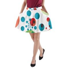 Polka Dot Circle Red Blue Green A Line Pocket Skirt by Mariart