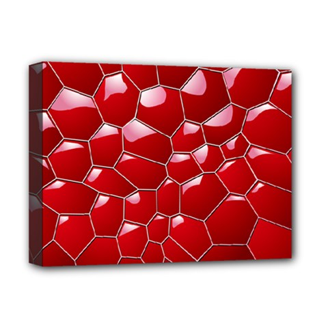 Plaid Iron Red Line Light Deluxe Canvas 16  X 12   by Mariart