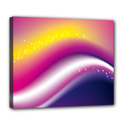 Rainbow Space Red Pink Purple Blue Yellow White Star Deluxe Canvas 24  X 20   by Mariart