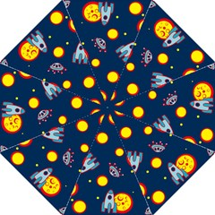 Rocket Ufo Moon Star Space Planet Blue Circle Folding Umbrellas by Mariart
