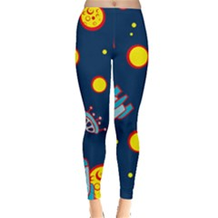 Rocket Ufo Moon Star Space Planet Blue Circle Leggings  by Mariart