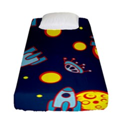 Rocket Ufo Moon Star Space Planet Blue Circle Fitted Sheet (single Size) by Mariart