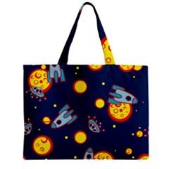 Rocket Ufo Moon Star Space Planet Blue Circle Zipper Mini Tote Bag by Mariart