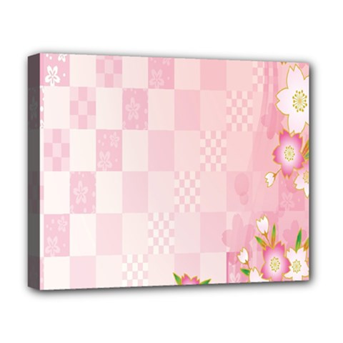 Sakura Flower Floral Pink Star Plaid Wave Chevron Deluxe Canvas 20  X 16   by Mariart