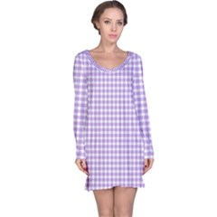 Plaid Purple White Line Long Sleeve Nightdress by Mariart