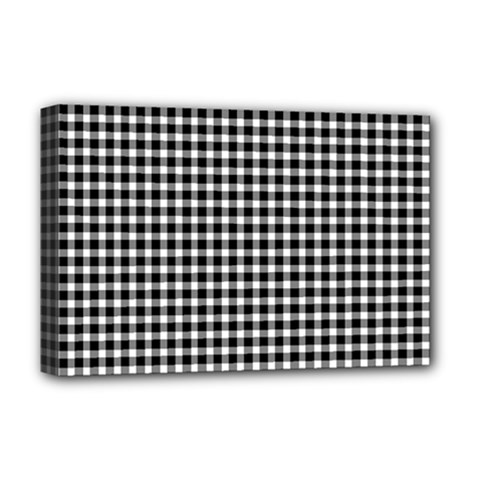 Plaid Black White Line Deluxe Canvas 18  X 12   by Mariart