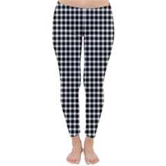 Plaid Black White Line Classic Winter Leggings by Mariart
